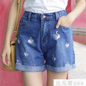 短褲牛仔女夏2018新款大碼胖mm鬆緊腰闊腿寬鬆高腰五分褲韓版顯瘦 法布蕾輕時尚