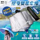 普特車旅精品【OE0890】二折雙層防雨傘帽 頭戴式雨傘 折疊斗笠傘 釣魚遮