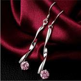 925純銀耳環 鑲鑽(耳針式)-簡單有型生日情人節禮物女飾品73au87[巴黎精品]