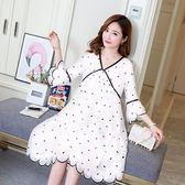 孕婦洋裝2019夏季新款雪紡上衣波點寬鬆薄款潮媽時尚款孕婦裙DC299【野之旅】
