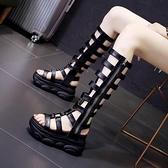 楔形涼鞋 網紅厚底涼鞋女2021新款夏季網紅超火潮牌松糕內增高羅馬鏤空涼靴