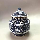古玩收藏陶瓷器乾隆年制青花纏枝蓮花紋蓋罐仿古瓷器