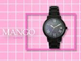 【時間道】MANGO經典羅馬刻度女腕錶 /黑貝面黑鋼帶(MA6736L-88)免運費