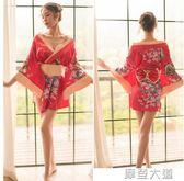 情趣內衣日式和服風小胸制服低領露鎖骨漢服夜火激情用品
