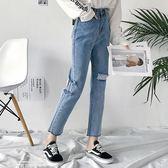 褲子女新款裝韓版復古風個性破洞牛仔褲高腰九分直筒褲潮「夢娜麗莎精品館」