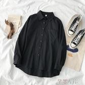 長袖襯衫設計感襯衣秋季年女裝韓版黑色加絨加厚翻領長袖襯衫上衣 芊墨左岸