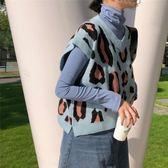 韓版針織馬甲女秋復古豹紋撞色外穿無袖背心女學生短款套頭毛衣『摩登大道』