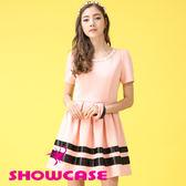 【SHOWCASE】立體蔥帶緞面配色短袖修身洋裝(粉)