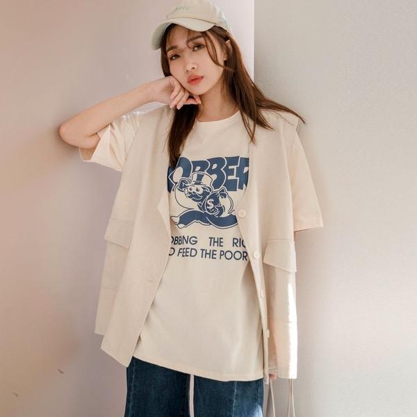 MIUSTAR ROBBER鬍子搶匪膠印棉質上衣(共2色)【NJ0146】預購