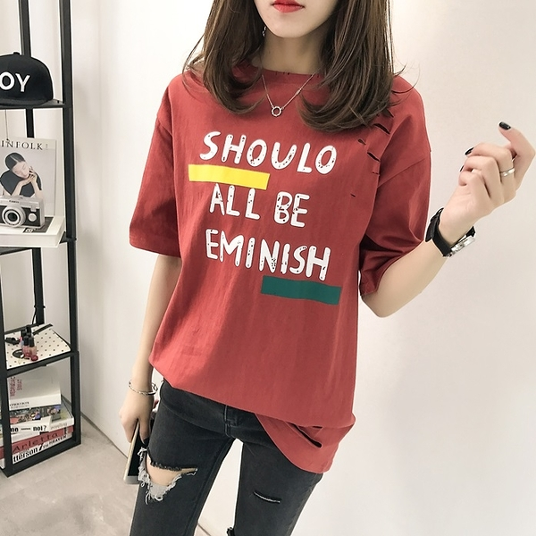 (免運)DE shop - 英文字母破洞短袖中長款短袖T恤 - T-6488