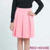 【RED HOUSE 蕾赫斯】甜美粉色簡單摺裙 (粉色)