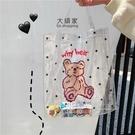 果凍包 手提包 正韓ins可愛卡通小熊透明手提袋沙灘包購物袋果凍包女學生上課包