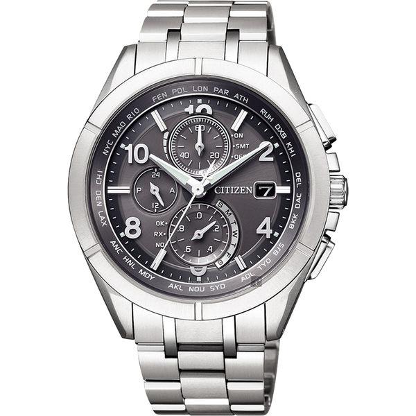 【滿額禮電影票】贈鱷魚皮錶帶 CITIZEN 星辰 光動能電波鈦金屬手錶-灰x銀/41mm AT8160-55H