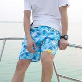 夏季男士運動休閒五分短褲子寬鬆沙灘褲漂流沖浪大褲衩運動褲頭男   初見居家