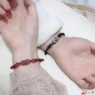手鍊 招財貔貅水晶情侶款一對男女小眾設計編織紅繩草莓晶送男朋友【美人季】jy