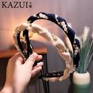 韓范十足新品頭箍發卡繞珍珠鑲鉆波浪形布藝發箍女甜美氣質頭飾品 店慶降價