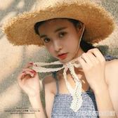 韓國ins網紅毛邊拉菲草帽子女時尚小清新夏季大檐遮陽綁帶太陽帽 居家物語