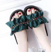 一字拖鞋女夏時尚沙灘鞋外穿百搭荷葉邊個性防滑韓版厚底鬆糕拖鞋 港仔會社