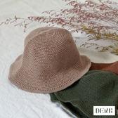 素色百搭編織漁夫帽 共3色 ( 橄欖綠/深酒紅/摩卡棕 )【DEMI丹米】