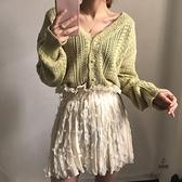 初秋毛衣外套女V領上衣鏤空外搭寬鬆針織開衫【愛物及屋】
