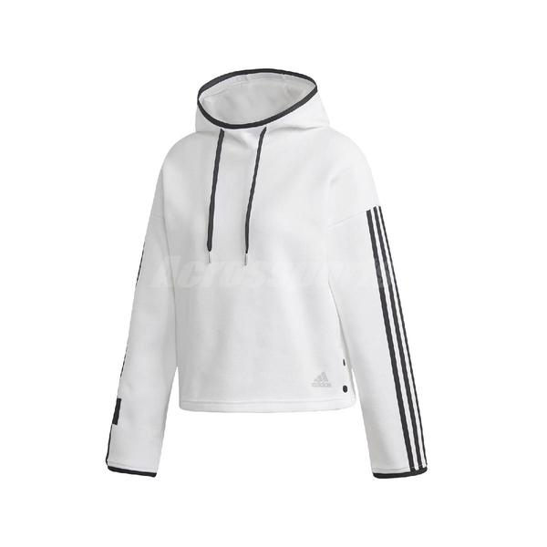 adidas 長袖T恤 ID Hoodie 白 黑 女款 帽T 運動休閒 【PUMP306】 FR5976