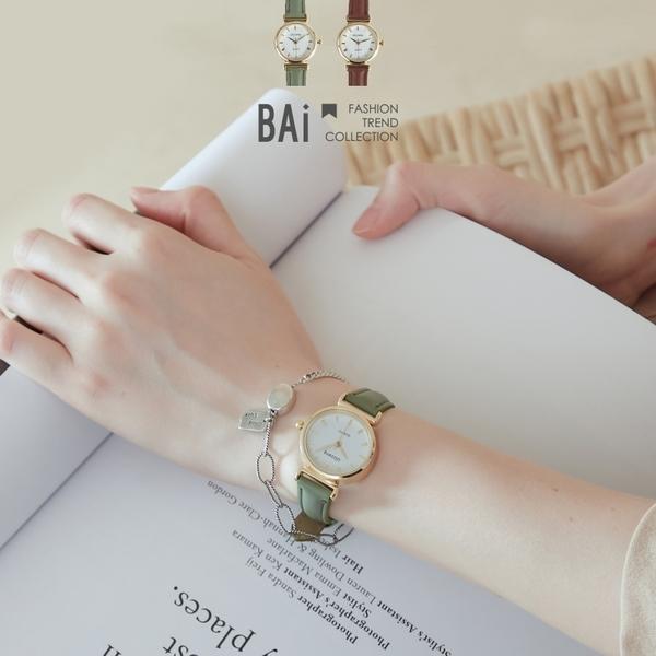 手錶 羅馬數字金屬小圓框皮革腕錶-BAi白媽媽【306062】