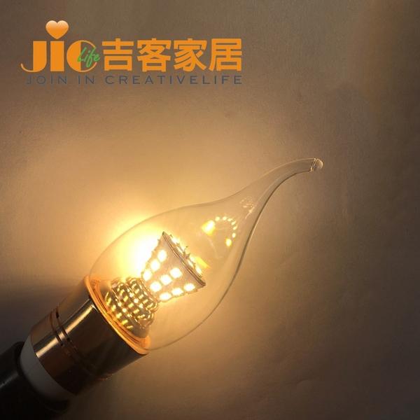 [吉客家居] 燈泡 - LED E14 7W 拉尾燈泡- 黃光 - 110V~220V  全電壓