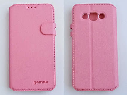 gamax Samsung GALAXY E7(SM-E7000) 磁扣荔枝紋側站手機套 商務二代 白色可選可加購保護貼更超值