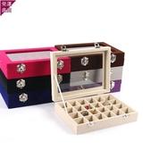 首飾收納盒 木質翻蓋24格耳釘盒子 首飾耳環收納盒 飾品珠寶箱【全館鉅惠】