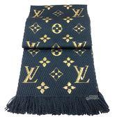 【Louis Vuitton 路易威登】M70815 Monogram LOGOMANIA SHINE金紗羊毛針織圍巾(石油藍色)