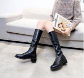 長靴女2018新款秋冬季韓版漆皮百搭高筒過膝粗跟前拉錬長筒騎士靴    後街