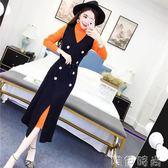背心裙 網紅兩件套裝冬裝韓版氣質高領長袖中長款修身針織裙 背心連身裙 唯伊時尚