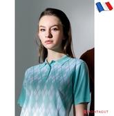 女款短袖POLO衫 女藝人穿搭款 夢特嬌法國製造亮絲系列 時尚菱紋-薄荷綠