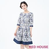 【RED HOUSE 蕾赫斯】優雅花朵洋裝(藍色)
