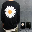 【OBIYUAN】長袖T恤 刺繡 OVERSIZE 雛菊 寬鬆 衣服 共1色【K3273】