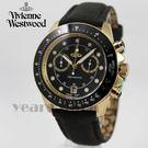 【萬年鐘錶】 Vivienne Westwood  英國 時尚精品 雙環皮革錶  金x黑  42mm  VV118BKBK