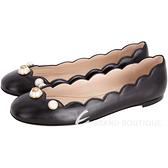 GUCCI 珍珠飾花邊剪裁牛皮娃娃鞋(黑色) 1710938-01