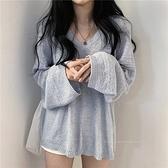 針織背心 長袖針織衫慵懶風秋季上衣寬鬆外穿薄款V領鏤空罩衫套頭女士毛衣  芊墨左岸 上新