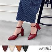 跟鞋 尖頭摺邊粗跟鞋 MA女鞋 T5101
