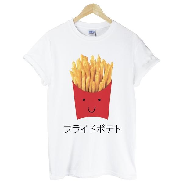 Japanese-French Fries短袖T恤-白色 薯條 漢堡 吐司 日文 日語 麵包 食物 速食 設計