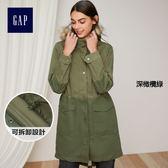 Gap女裝 疊穿效果直筒收腰派克鋪棉外套 337072-深橄欖綠