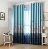 地中海城堡窗簾成品定制臥室客廳隔熱短簾全遮光遮陽加厚布料