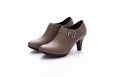 MICHELLE PARK 歐美風格性感時尚顯瘦側拉鍊短踝靴-芋色