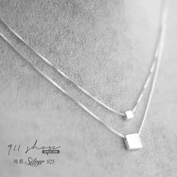 Favour.925純銀大小方塊雙層鎖骨鏈短項鍊【s325】911 SHOP