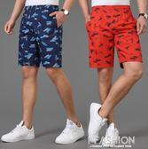 夏季中年男士純棉中褲鬆緊腰男五分褲中老年人短褲寬鬆休閒沙灘褲-Ifashion