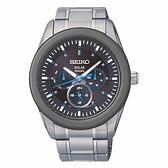 SEIKO Criteria 活力休閒風格太陽能男腕錶/黑藍/41mm/V14J-0CD0B(SNE349P1)
