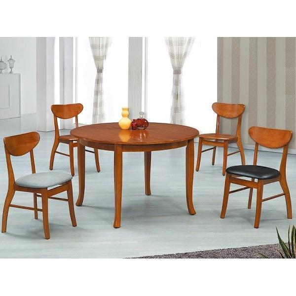 餐桌 AT-823-4 柚木色4尺圓桌 (不含椅子) 【大眾家居舘】