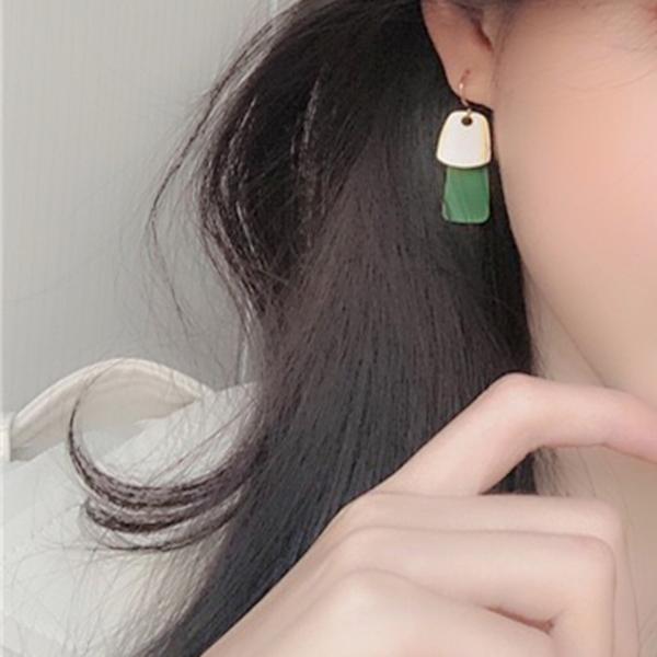 現貨 韓國女神冷淡風簡約莫蘭迪幾何慵懶法式撞色垂墜耳環 S93559 批發價 Danica 韓系飾品