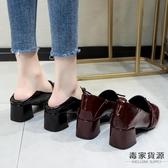 高跟鞋女粗跟韓版百搭方頭漆皮單鞋復古英倫小皮鞋【毒家貨源】
