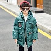 羽絨外套男孩男童外套 秋冬中長款男寶寶棉衣 中大童韓版外套 洋氣棉服加絨加厚潮流夾克外套